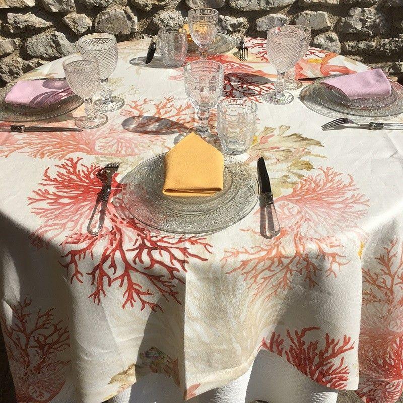 """Nappe carrée en Lin de Toscane """"Corail"""""""