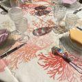 "Nappe ronde en Lin de Toscane ""Corail"""