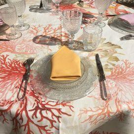 "Tessitura Toscana Telerie, round linen tablecloth ""Corail"""