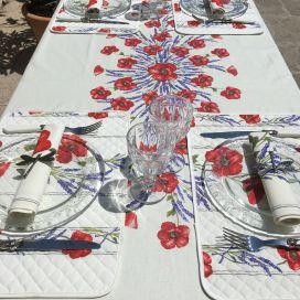 """Nappe provençale rectangulaire placée en coton """"Coquelicots et Lavande"""" fond écru Tissus Toselli"""
