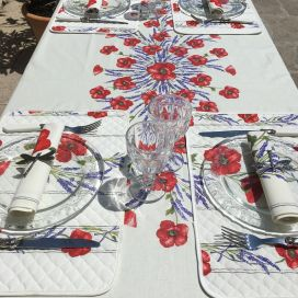 "Rectangular placed cotton tablecloth ""Poppies and Lavender"" off-White from Tissus Toselli in Nice"