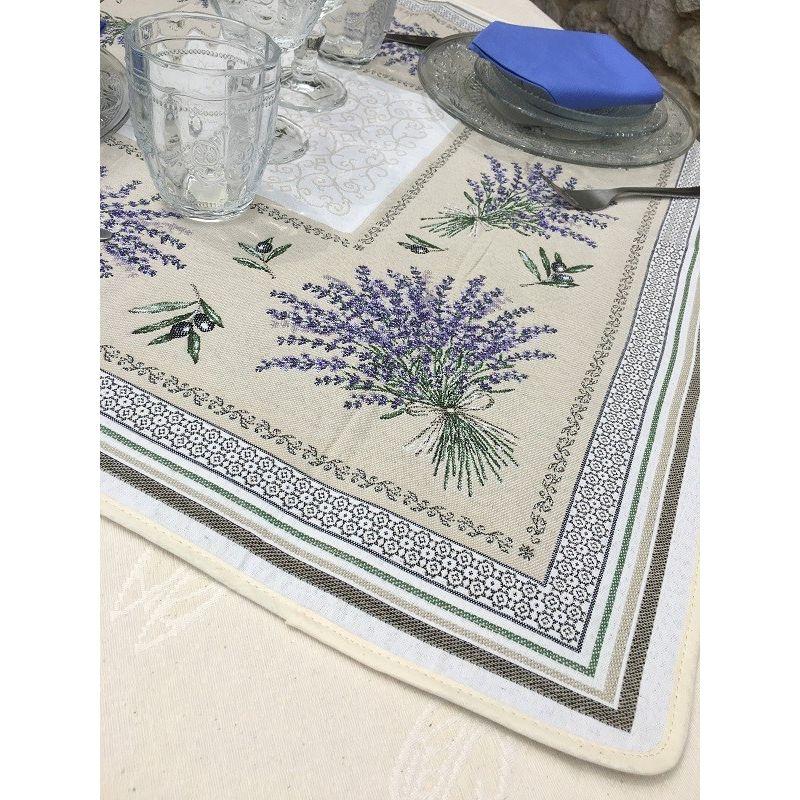 """Chemin de table lavandes et olives """"Castillon"""""""