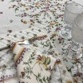 "Provence rectangular centred coated cotton tablecloth ""Moustiers"" pink birds"