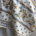 """Rectangular coated cotton tablecloth """"Moustiers"""" blue"""