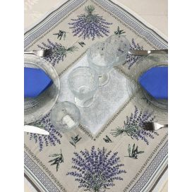 "Jacquard square table mats Lavenders and olives ""Castillon"", Tissus Toselli"