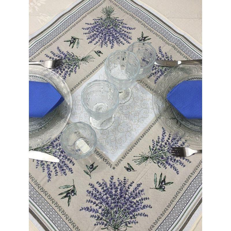 """Square Jacquard table mat lavandes et olives """"Castillon"""""""
