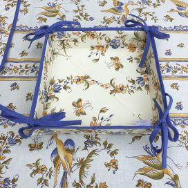 """Panière à lacets en coton enduit, """"Moustiers"""" bleu"""