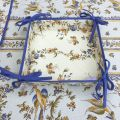 "Coated cotton bread basket with laces ""Moustiers"" blue bird"