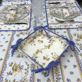 """Rectangular provence cotton tablecloth """"Moustiers"""" ecru and blue from Tissus Toselli in Nice"""