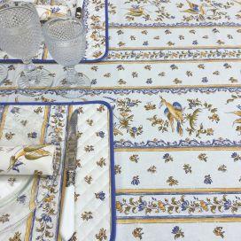 """Nappe provençale rectangulaire en coton enduit """"Moustiers"""" Bleu fond écru"""