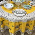 "Round coated cotton tablecloth, diameter 91""  ""Lauris"" olives and lavandes yellow, by TISSUS TOSELLI"