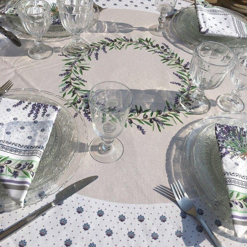 """Nappe ronde en coton, diamètre 230cm """"Lauris"""" olives et lavandes, TISSUS TOSELLI"""