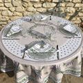 """Round cotton tablecloth, diameter 91 inch """"Lauris"""" olives and lavandes , by TISSUS TOSELLI"""