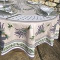 "Round coated cotton tablecloth, diameter 91 inch ""Lauris"" olives and lavandes , by TISSUS TOSELLI"