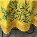 """Round tablecloth in cotton """"Nyons"""" yellow, by TISSUS TOSELLI"""