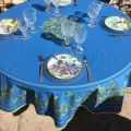 "Round coated cotton tablecloth, diameter 91"" ""Nyons"" blue, by TISSUS TOSELLI"