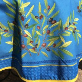 """Nappe provençale ronde en coton enduit, diamètre 230cm """"Nyons"""" bleue, TISSUS TOSELLI"""