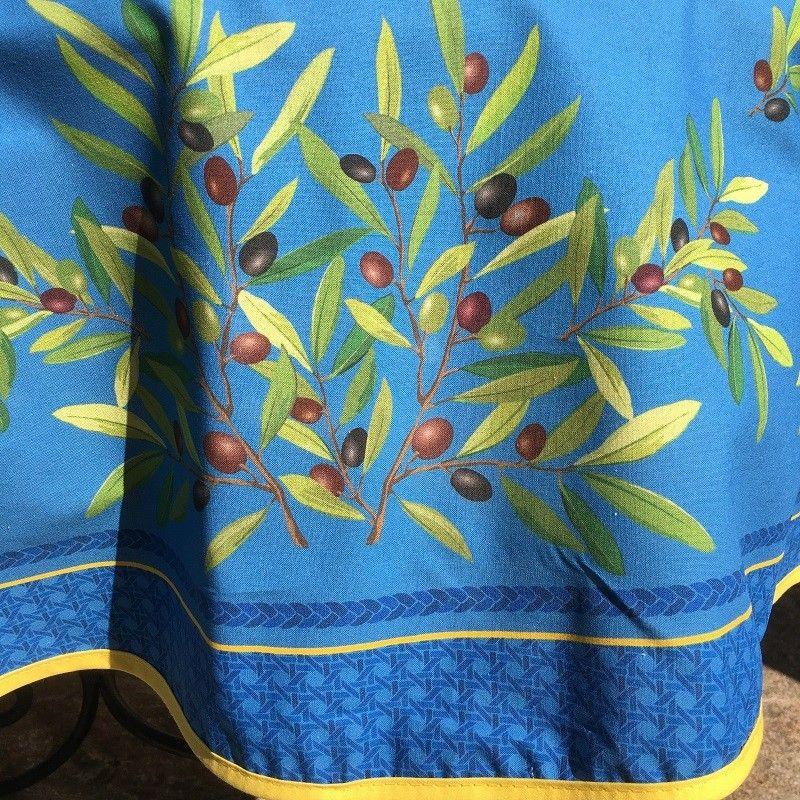 """Nappe ronde en coton enduit, diamètre 230cm """"Nyons"""" bleue, TISSUS TOSELLI"""