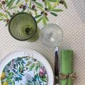 """Round coated cotton tablecloth, diameter 91""""  """"Nyons"""" olives Off-White, by TISSUS TOSELLI"""