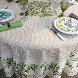 "Round coated cotton tablecloth ""Nyons"" olives Off-White, by TISSUS TOSELLI"