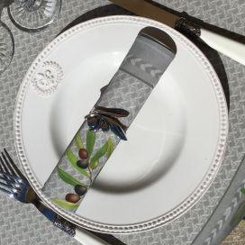"""Rond de serviette en métal argenté """"Olives"""""""
