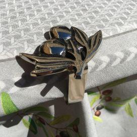 """Pince-nappe en métal argenté """"Olives"""" Sud Etoffe"""