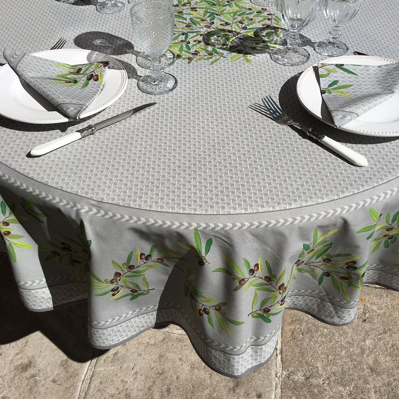 """Round cotton tablecloth """"Nyons"""" olives grey, by Tisus Toselli"""