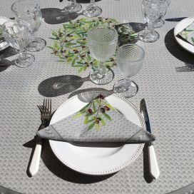"Round coated cotton tablecloth ""Nyons"" olives grey, by Tissus Toselli"