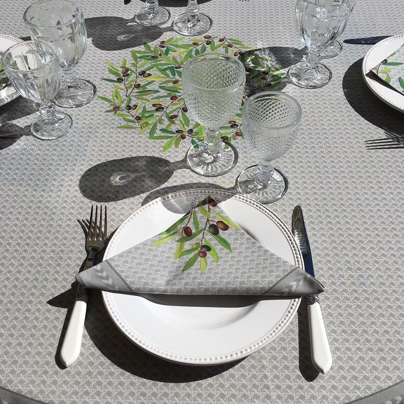 """Round coated cotton tablecloth """"Nyons"""" olives grey, by Tissus Toselli"""