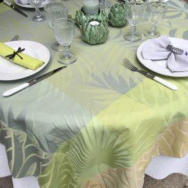 "Nappe carrée en Jacquard ""Balata"" jaune Tissus Toselli"