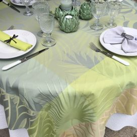 "Square webbed Jacquard tablecloth ""Balata"" yellow, Tissus Toselli"
