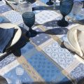 "Square webbed Jacquard tablecloth, stain resistant ""Valescure"" blue"