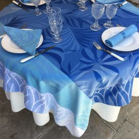 "Square webbed Jacquard tablecloth ""Balata"" blue by Tissus Toselli"