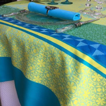 "Rectangular webbed Jacquard tablecloth ""Ribeauvillé"" turquoise, yellow, Tissus Toselli"