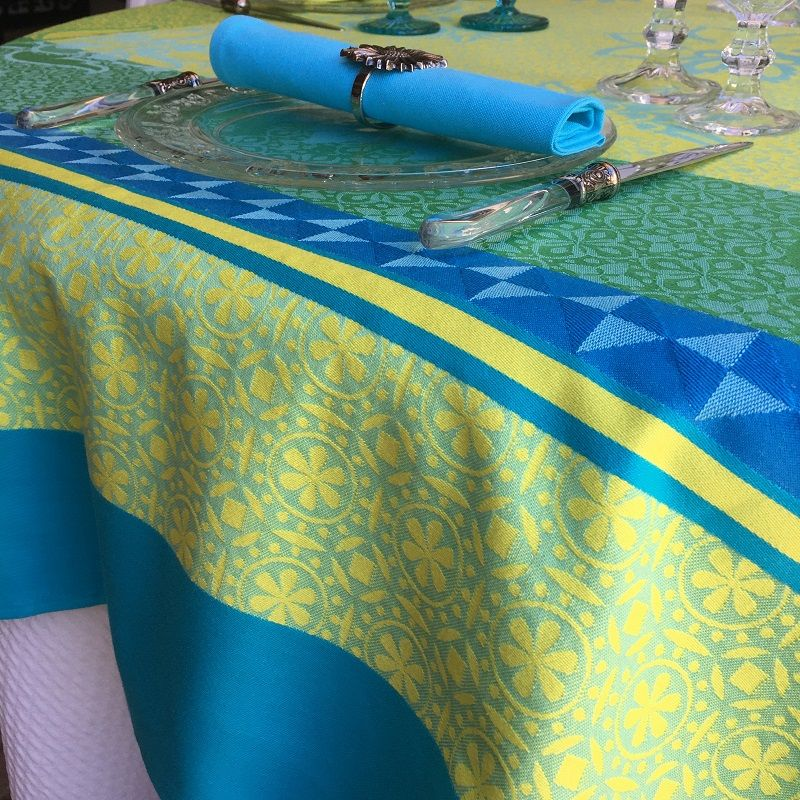 """Rectangular webbed Jacquard tablecloth """"Ribeauvillé"""" turquoise, yellow, Tissus Toselli"""