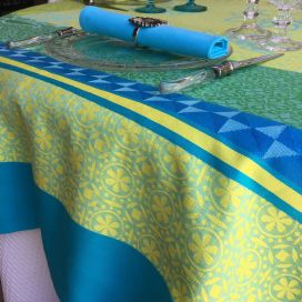 "Square webbed Jacquard tablecloth ""Ribeauvillé"" turquoise, yellow, Tissus Toselli"