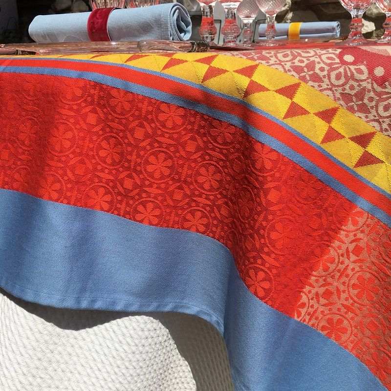 """Rectangular webbed Jacquard tablecloth """"Ribeauvillé"""" red, yellow, Tissus Toselli"""