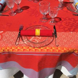 "Rectangular webbed Jacquard tablecloth ""Ribeauvillé"" red, yellow, Tissus Toselli"