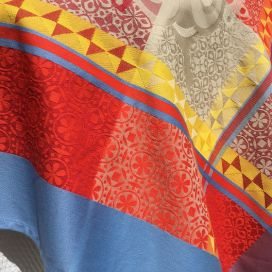 """Square webbed Jacquard tablecloth """"Ribeauvillé"""" red yellow, Tissus Toselli"""