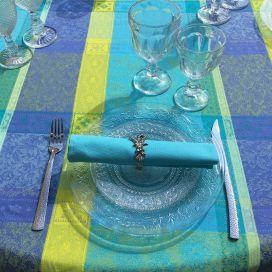 """Nappe rectangulaire Jacquard enduit  """"Maussanne"""" Turquoise"""