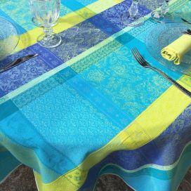 """Nappe ronde Jacquard enduit  """"Maussanne"""" Turquoise"""