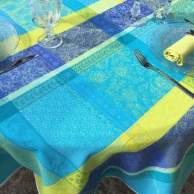 "Round coated Jacquard tablecloth, stain resistant Teflon ""Maussanne"" turquoise"