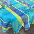 """Round coated Jacquard tablecloth, stain resistant Teflon """"Maussanne"""" turquoise"""