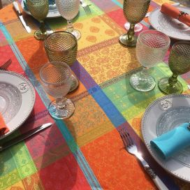 "Rectangular coated Jacquard tablecloth ""Valescure"" Orange, turquoise"