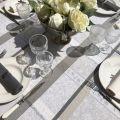 "Rectangular Jacquard tablecloth, stain resistant Teflon ""Maussanne""  ecru, grey"