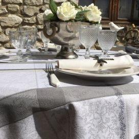 "Round Jacquard tablecloth, stain resistant Teflon ""Maussanne""  ecru, grey"