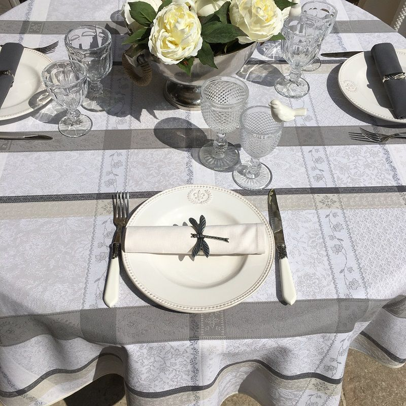 """Round coated Jacquard tablecloth, stain resistant Teflon """"Maussanne"""" ecru, grey"""