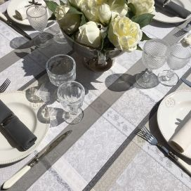 "Rectangular coated Jacquard tablecloth ""Maussanne"" ecru and grey"