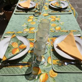 "Provence rectangular placed tablecloth ""Citrons"" green and yellow from Tissus Toselli"