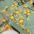 """Nappe rectangulaire placée en coton """"Citrons""""  jaune et vert"""